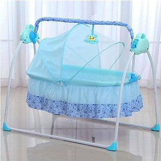 Electric Baby Auto Swing Cradle 5 Speed Safe Crib Infant Rocker Cot Mat RC Blue