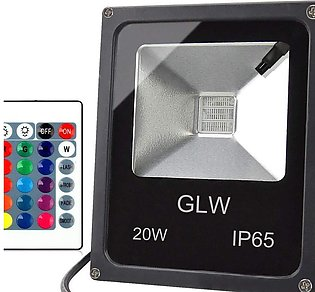 GLW LED RGB Flood Light, 20W Outdoor Color Changing Lights With Remote Control,…