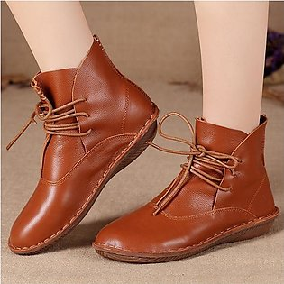 Fashion Women Handmade Genuine Leather Comfy Vintage Ankle Boots