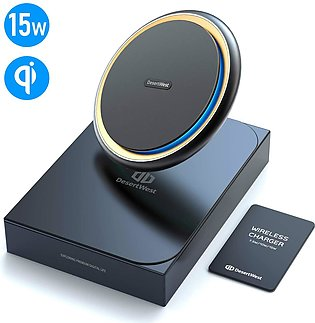 DesertWest 15W Fast Wireless Charger Pad Metal Body for Apple iPhone 11/New iPh…