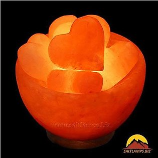 Astonishing Himalayan Crafted Fire Bowl Salt Lamp with hearts (Hearts Bowl Salt…