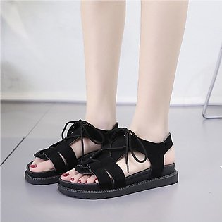 Women's Flat Sandals Thick-Bottomed Beach Shoes Summer Lace-Up Open-Toe Sandals