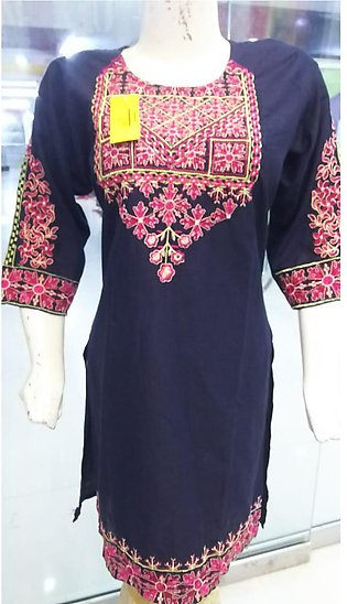 Black color embroidered and stitched shirt for females stuff cotton by A-J Corn…