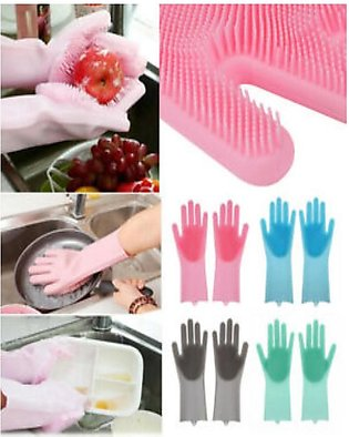 Magic Silicone Dishwashing Gloves,Reusable Silicone Kitchen Cleaning Gloves wit…