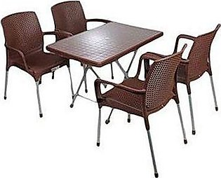 Set Of 4 Plastic Chairs And Plastic Table-multicolours
