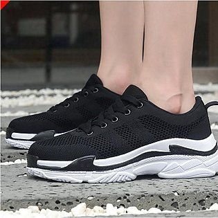 Sport Shoes For Women Lace-up Fashion Mesh Round Head Flat Sneakers Running Sho…