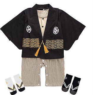 Children's Wear Boy Long-sleeved One-piece Dress Hare Japanese Print Kimono Set