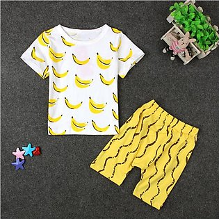 Children'S Summer Child Set Boy Cartoon Banana Short Sleeve Shorts Two Set Chil…