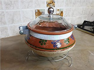 Clay Cooking Pot (Handi / karahi) With Glass Lid (Steel base stand is included).