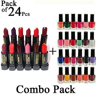 Combo Pack of 24 Pcs Mendora Nail Polish 12 Nail Paint and 12 Lipstick Lip stic…