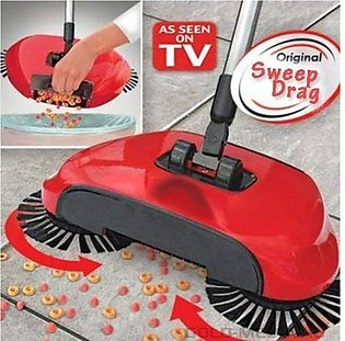 New Sweep Drag All - In - One No Electricity Spin Broom Vacuum Cleaner - Red