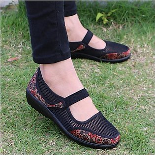 Fashion Women Big Size Mesh Breathable Flower Printing Wedge Heel Loafers Boat …