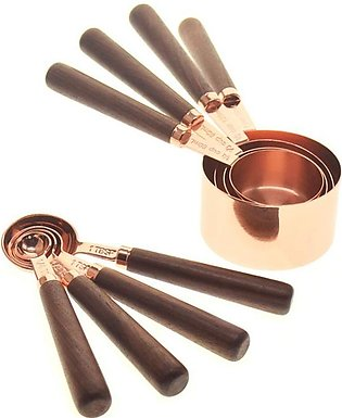 Measuring Cups Spoons Set Wood Handle Stainless Steel Plated Copper Metal Measu…