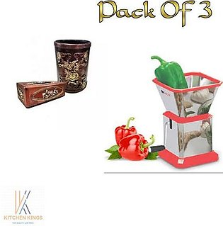 Pack Of  3 HIGH QUALITY STEEL CHILI CUTTER& Dry Fruit Cutter And  Dustbin & Tis…