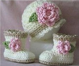 Handmade White And Pink Baby Girls Woolen Booties and Cap