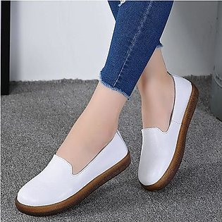 Fashion Women Genuine Leather Soft Pure Color Retro Flat Loafers Shoes