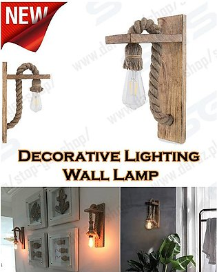 wood lamps with rope cord Wall Edison sconces Rustic hanging light fixture plug…