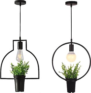 2 Pcs Green Plant Hanging Lamp Retro Industrial Style Chandelier Cafe Light Nor…