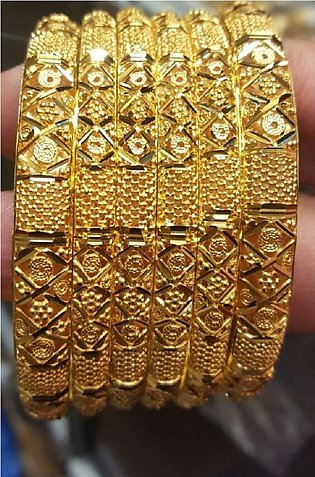 Stylish Gold Plated Bangles Set Very High Quality (PACK OF 6)