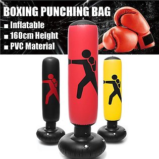 160cm PVC Inflatable Boxing Punching Bag Standing Home Gym Fitness Training Tool