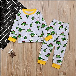 Children'S Spring Fall Boy Dinosaur Long-Sleeved T-Shirt + Trousers Two Pieces …