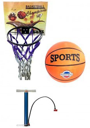 Pacak of three Basket Ball Ring Net and Air Pump Sports