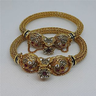 Gold plated, stylish and unique Kara Bangles with all real zircones for women 2…