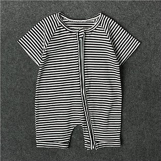 Children'S Summer Boy Striped Short Sleeve Jumpsuit Child Hardy Baby Crawling S…
