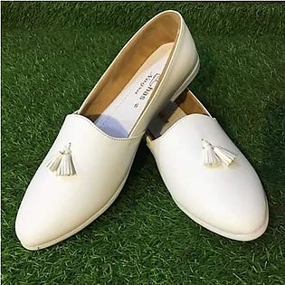 Traditional Nagra Shoes l Khussa For Men - White Color