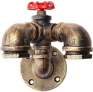 Vintage Industrial Retro Dual Water Pipe Shape Wall Lamp Sconce Light Fixture