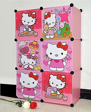 Hellow Kitty Portable Diy 6 Cubes Wardrobe, Cabinet , Shoe Rack, Book Rack, Mul…
