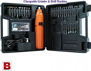60 Piece Chargeable Mini Grinder And Drill Machine