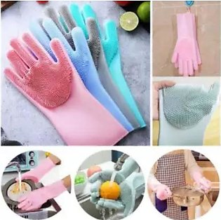 Magic Reusable Silicone Gloves with Wash Scrubber, Heat Resistant, for Cleaning…