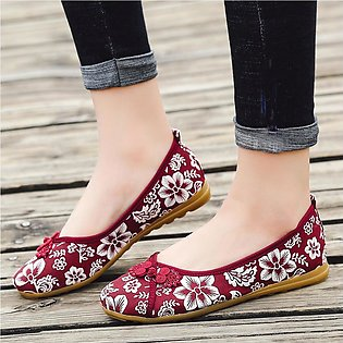 Women Ladies Floral Round Toe Flat Loafers Casual Canvas Shoes