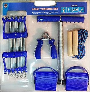 4-Way Training Set - Tummy Trimmer - Chest Expander - Jump Rope - Hand Grips - …