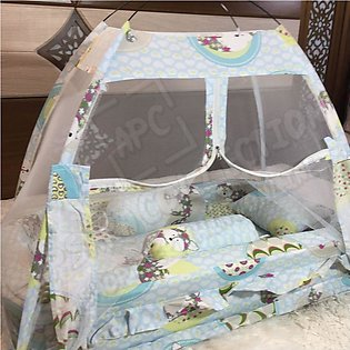 New White Super Soft Baby Bed Set With 1 Pillow 2 Cushions and Mosquito Net - B…