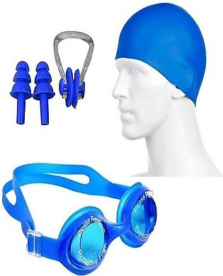 swimming kit with cap, goggle, 2 pair ear plugs and 1 nose clip