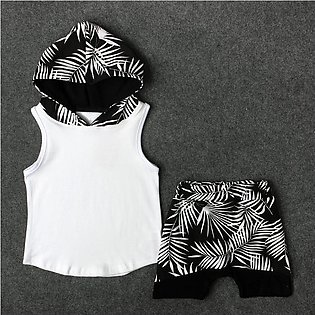 Children'S Summer Vest Sleeveless Boy Leaf Hooded T-Shirt + Shorts Two Pieces S…