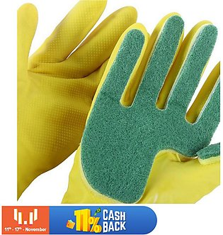 Kitchen Wash Rubber Gloves with Scouring Cloth Sponge On The Inner Fingers, All…