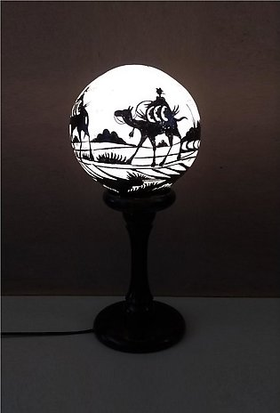 Hand Painted Camel Skin Lamp - Globe Shaped - Night Lamp