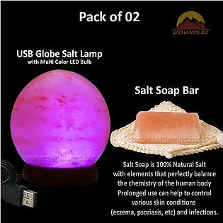 Pack of 02 - USB Crafted Globe Salt Lamp and Salt Soap Bar