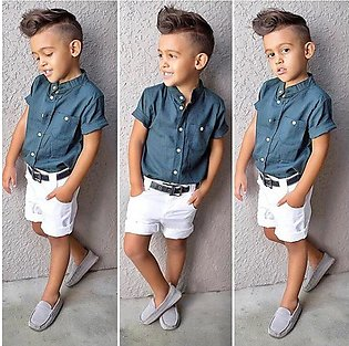 Children'S Summer Boys Short Sleeve Blue Top + White Shorts Trend Two Set Child…
