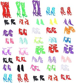 40 Pairs Doll Shoes Fashion Cute Colorful Assorted Shoes for Barbie Doll - intl