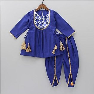 Blue puplem frock with tulip shalwar stitched two-piece suit for little princess