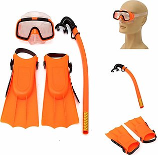 Kids Diving Mask Snorkel& Glasses&Fins Set Silicone Swimming Pool Equipment Gif…