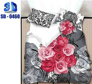 3D Bed Sheets New Design High Quality Cotton & Satin - Multicolored - Double Be…