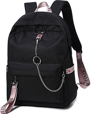 Daily Fashion - Heart Wolf Girls Bag Fashion Nylon Backpack - Black