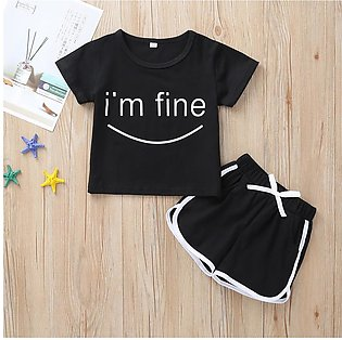2PCS Toddler Kids Baby Girl Boy Letter T shirt Tops Shorts Pants Clothes Clothi…