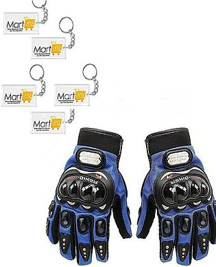 Pair of Motorbike Carbon Fiber Racing Gloves plus 5 free key chains