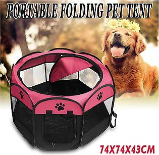 Blue / Rose red -- Outdoor Foldable Portable Pet Tent Kennel Dog Fence Cats Hou…
